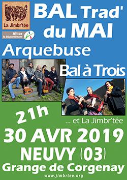 L'affiche du Bal du Mai avec Bal à Trois et Arquebuse