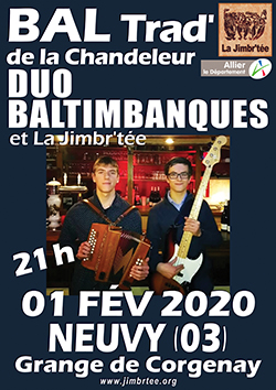 L'affiche du bal de la chandeleur avec Duo Baltimbanques